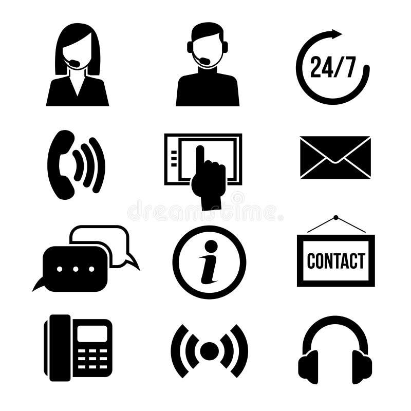 Service, kundtjänst, appellmitt och telefonförsäljningvektorsymboler royaltyfri illustrationer