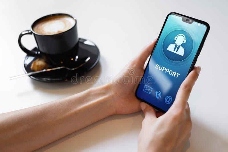 Service kundtjänstsymbol på mobiltelefonskärmen Appellmitt, hjälp 24x7 arkivbilder
