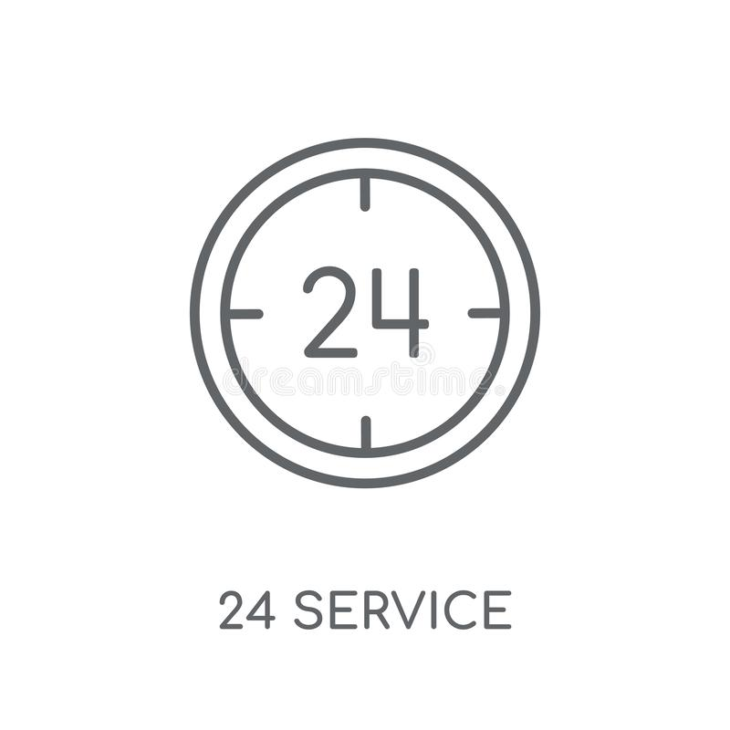 24 Service linear icon. Modern outline 24 Service logo concept o. N white background from Hotel and Restaurant collection. Suitable for use on web apps, mobile stock illustration
