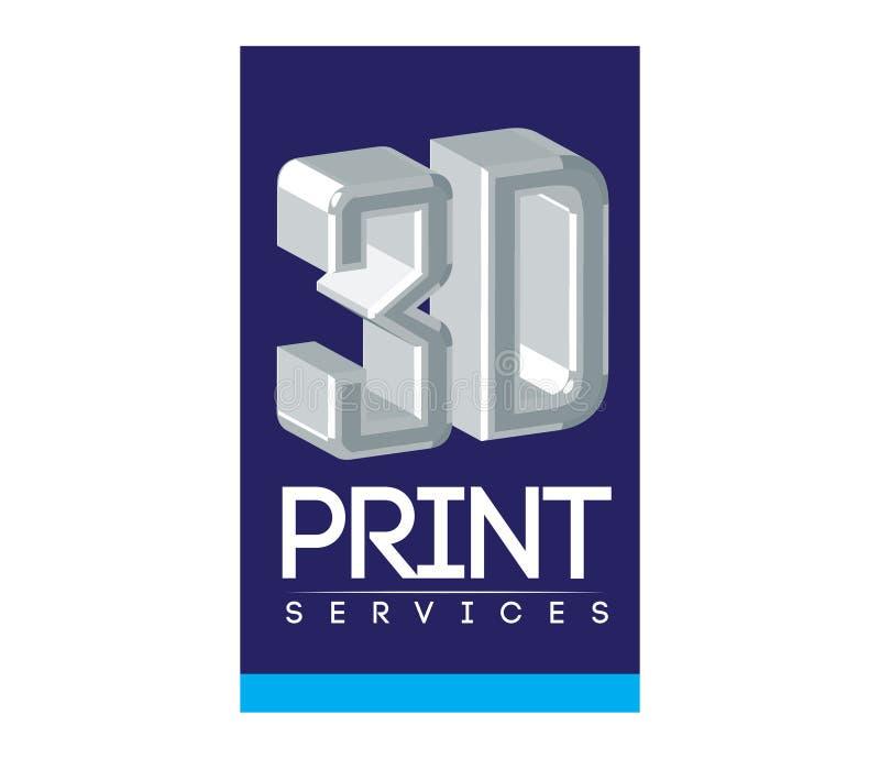 Service Logo Design des Druck-3D vektor abbildung