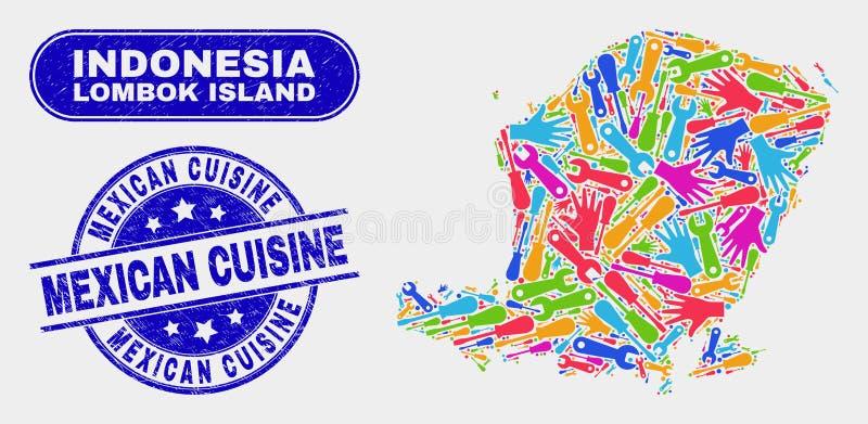 Service Lombok Island Map und Grunge Mexiko Cuisine Stamps vektor abbildung