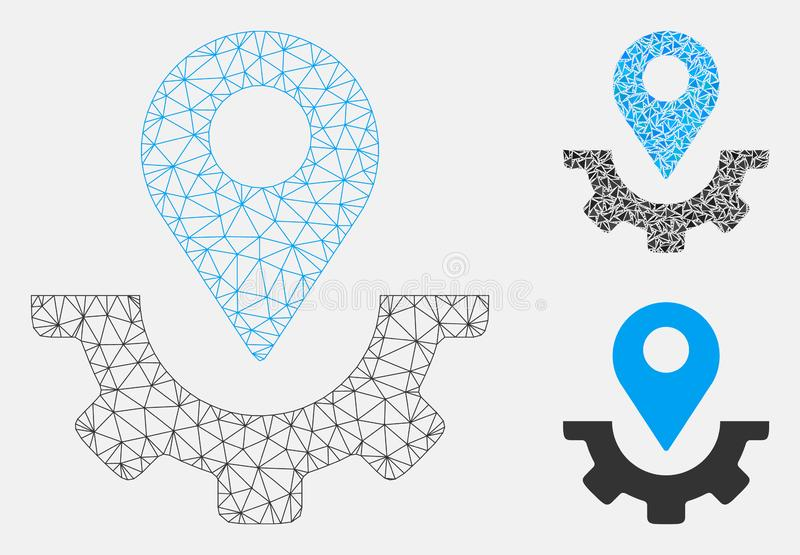 Service Map Marker Vector Mesh 2D Model and Triangle Mosaic Icon. Mesh service map marker model with triangle mosaic icon. Wire carcass triangular mesh of royalty free illustration
