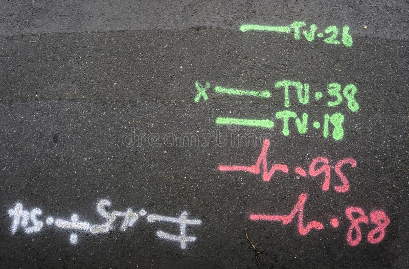 Service Markings on Pavement stock images