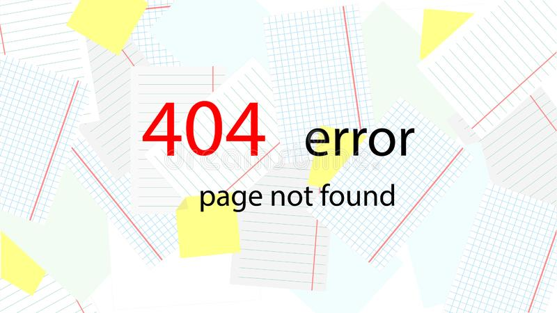 Service message on the site. Error 404 - Page not found. On the background scattered sheets of paper. Vector. vector illustration