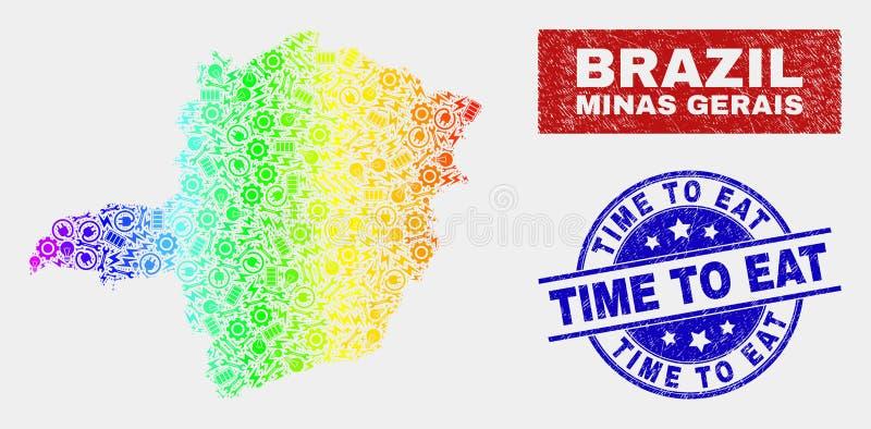 Service Minas Gerais State Map de spectre et heure rayée de manger des timbres illustration stock