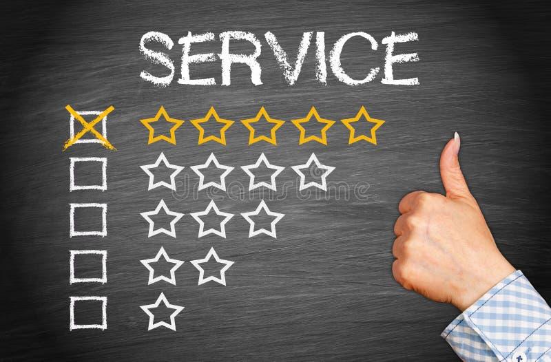 Service mit fünf Sternen stockbild