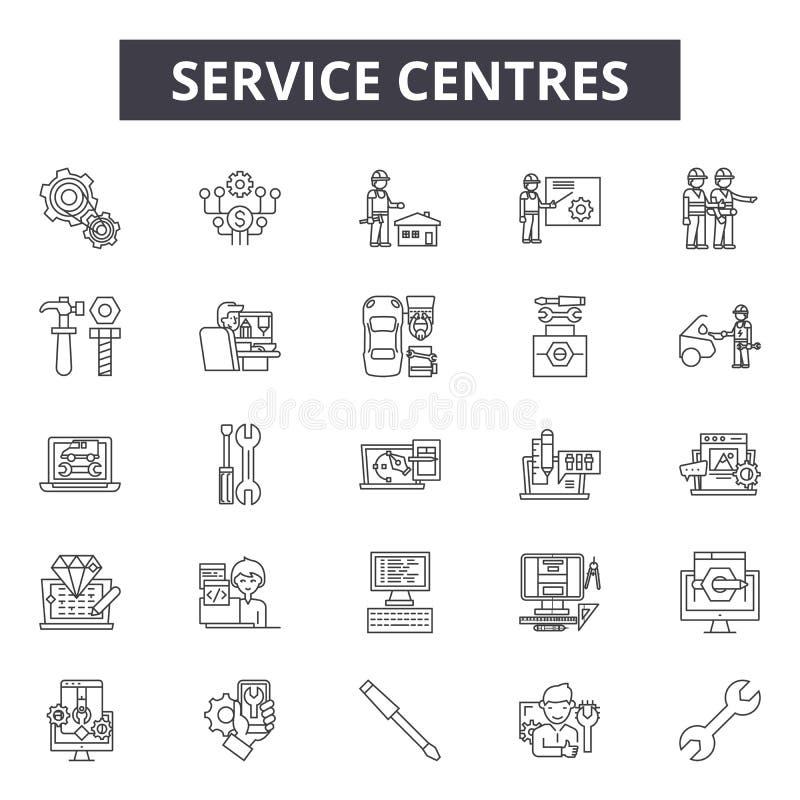 Service-Mitten zeichnen Ikonen, Zeichen, Vektorsatz, lineares Konzept, Entwurfsillustration lizenzfreie abbildung