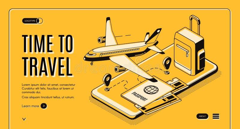 Service mobile en ligne pour le site Web de vecteur de voyageurs illustration libre de droits