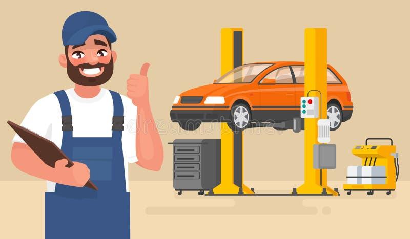 Service och reparation av bilen Automechanic på bakgrunden av bilen på elevatorn också vektor för coreldrawillustration stock illustrationer