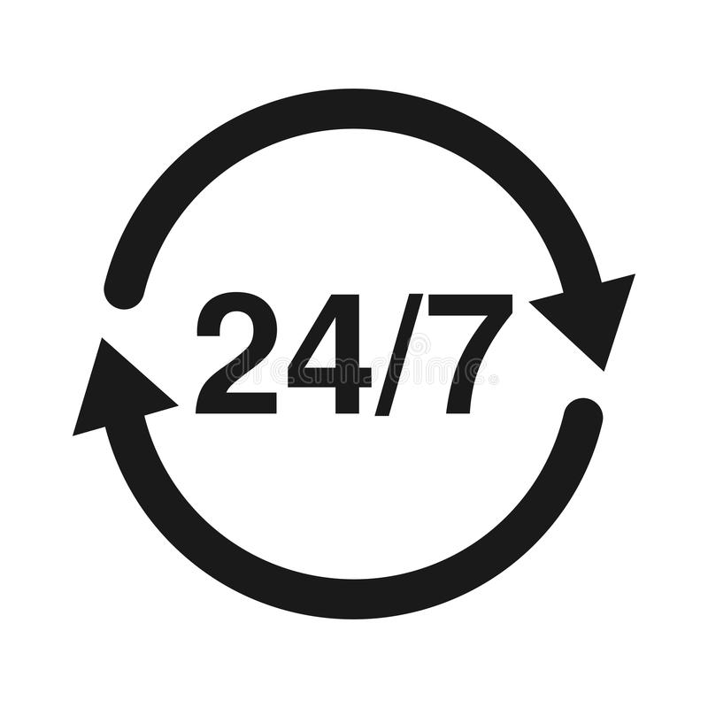24 7 Service open 24h hours a day and 7 days a week. Flat isolated illustration in black. vector illustration