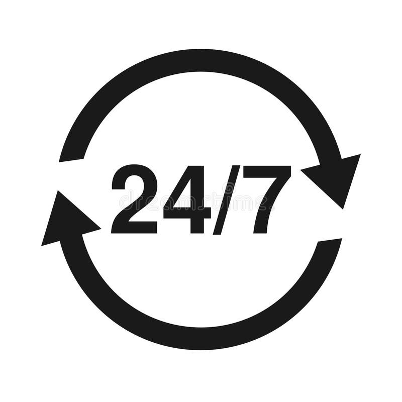 24 7 Service open 24h hours a day and 7 days a week. Flat isolated vector illustration in black. royalty free illustration