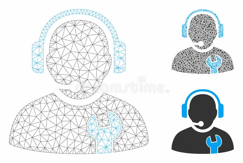 Service Operator Vector Mesh Carcass Model and Triangle Mosaic Icon. Mesh service operator model with triangle mosaic icon. Wire carcass polygonal mesh of vector illustration