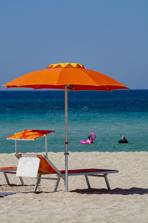Service p? stranden, f?rgrik sols?ng och slags solskydd f?r hyra p? den h?rliga vita sandiga stranden med kristallklart bl?tt hav royaltyfria bilder