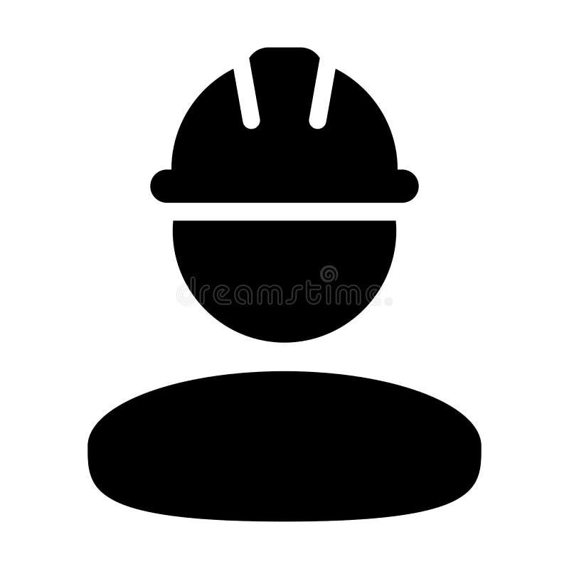 Service-Personenprofilavatara des Bauarbeiterikonenvektors männlicher mit Hardhatsturzhelm im Glyphpiktogramm vektor abbildung