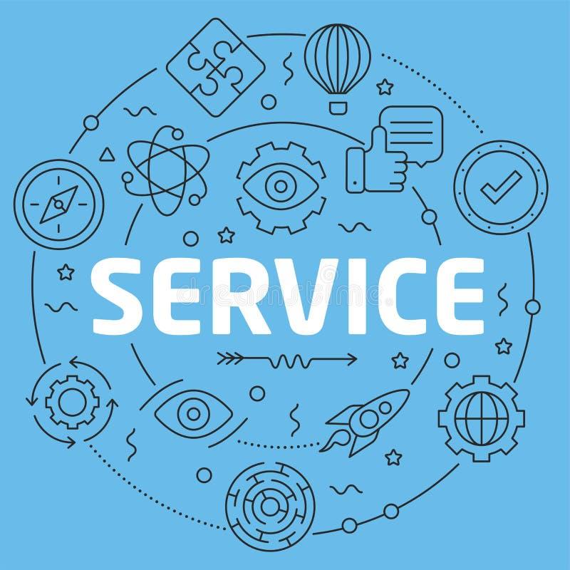 Service plat d'illustration de cercle de Blue Line illustration libre de droits