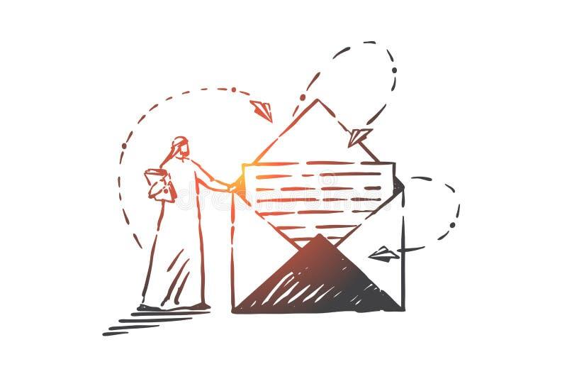 Service postal, correspondance, croquis conceptuels Vecteur isolé à main illustration stock