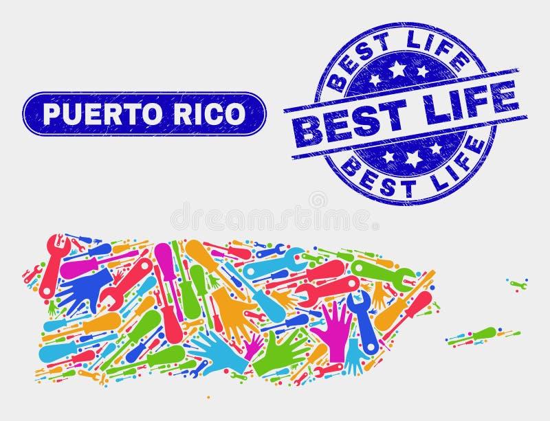 Service Puerto Rico Map och skrapade bästa livskyddsremsor vektor illustrationer