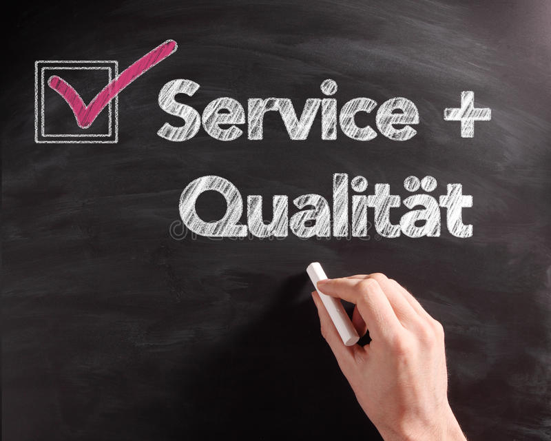 Service and Quality Texts on Board with Check Box. Handwritten Service and Quality Texts on Black Chalkboard with Pink Mark on Check Box stock photos