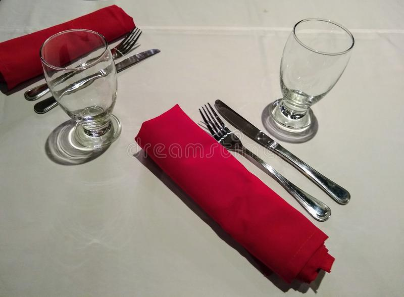 Service ready for customers in a restaurant stock photos