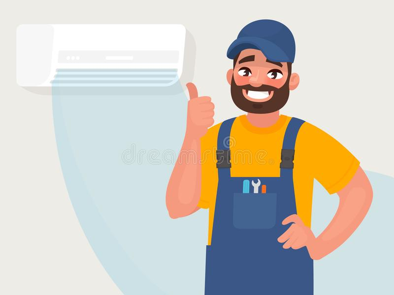 Service and repair of air conditioners. The repairman on the background of a properly functioning air conditioner. Vector illustra. Tion in cartoon style vector illustration