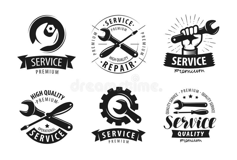 Service, repair set of labels or logos. Maintenance work icon. Vector. Isolated on white background royalty free illustration