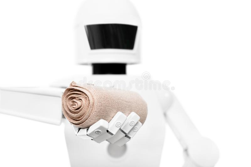 Service robot as medical worker, nurse or caregiver. Autonomous service robot as medical worker, nurse or caregiver, isolated in front of a white background royalty free stock photography
