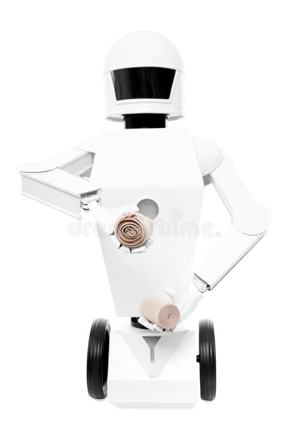 Service robot as medical worker, nurse or caregiver. Autonomous service robot as medical worker, nurse or caregiver, isolated in front of a white background royalty free stock images