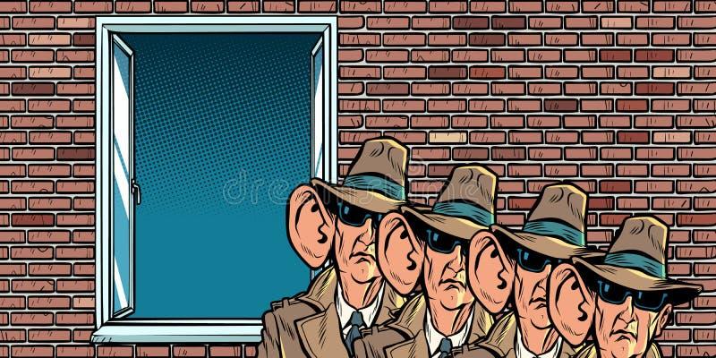 Service secret d'espion de l'état écoutant clandestinement des résidents illustration de vecteur