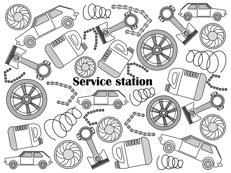Service station colorless set vector. Service station design colorless set vector illustration. Coloring book. Black and white line art stock illustration