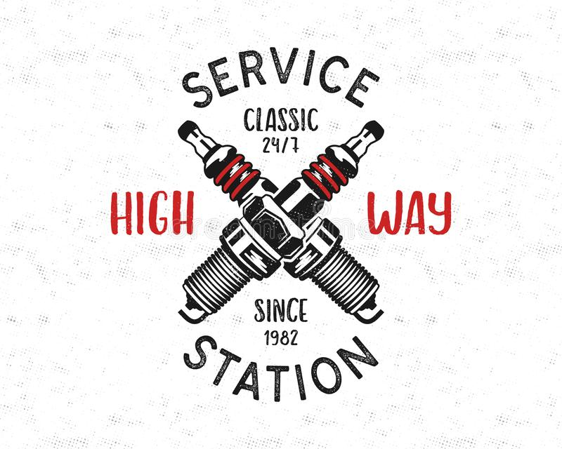 Service station emblem design. Classic garage logo in retro style with monochrome spark plug and typography High way royalty free illustration