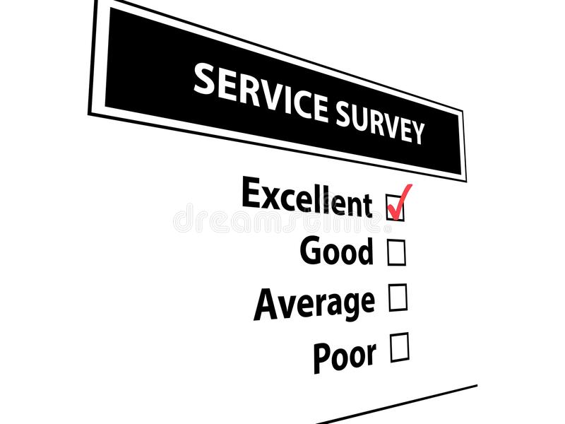 Service survey. Graphic with service survey in white text on black and check boxes for rating royalty free stock photos