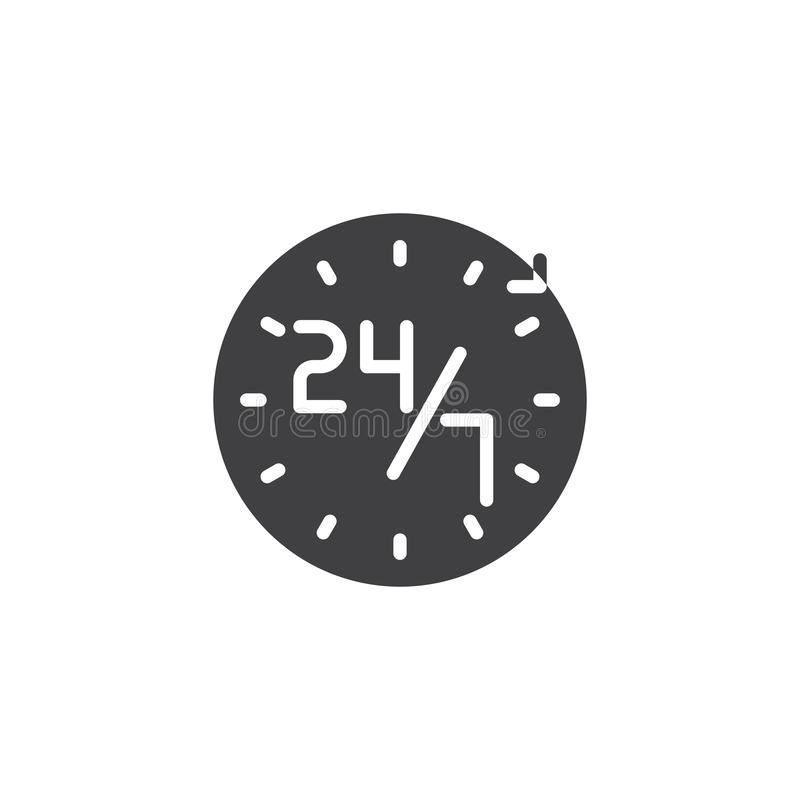 Service 24 symbol för 7 vektor stock illustrationer