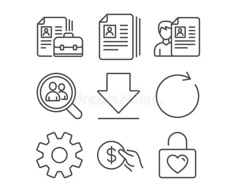Service, synchronisieren und Zahlungsikonen Lebenslauf-Dokumente, Downloading- und Stellezeichen lizenzfreie abbildung