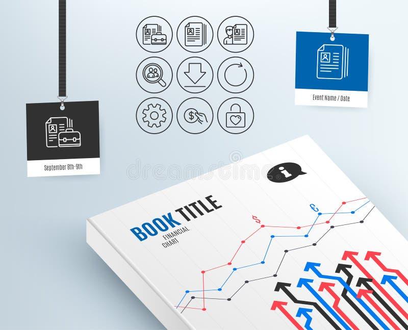 Service, synchronisieren und Zahlungsikonen Lebenslauf-Dokumente, Downloading- und Stellezeichen stock abbildung