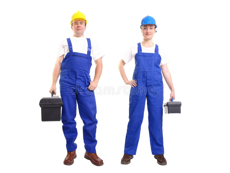 Service team. Serviceman and servicewoman wearing yellow and blue helmet and blue overall each holding black toolbox - isolated on white background stock photography