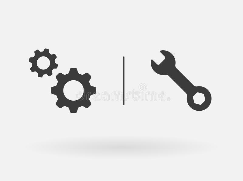Service tool. Vector icon. Workshop, settings, support options concept. Flat design signs set isolated on white stock illustration