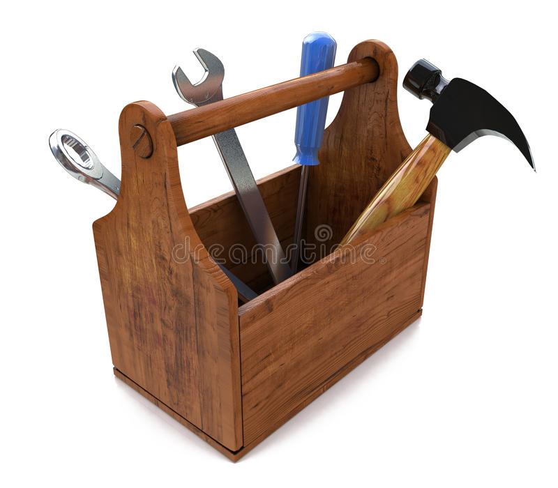 Toolbox with tools. 3d royalty free stock image