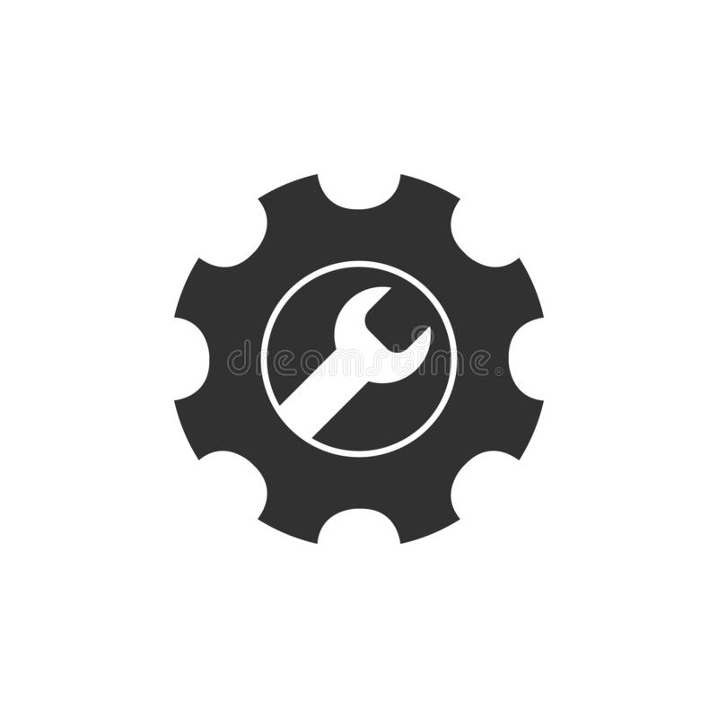 Service Tools vector icon. Gear and wrench logo design. Stock vector illustration on white background vector illustration