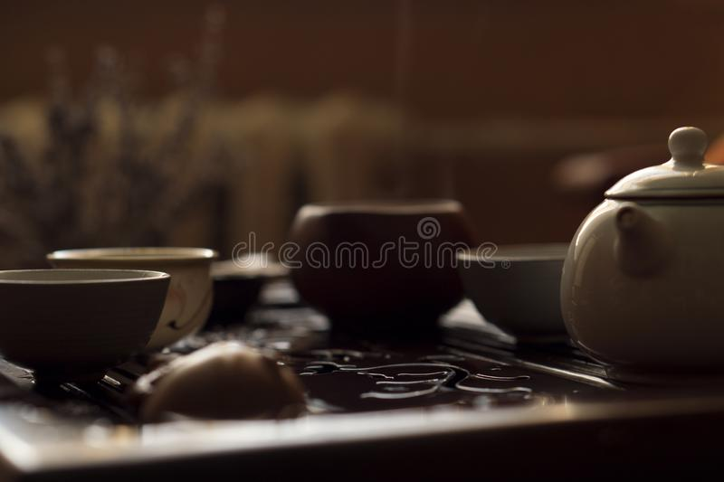 Service for Traditional Chinese Tea Ceremony. Set of Equipment for Drinking Tea stock photo