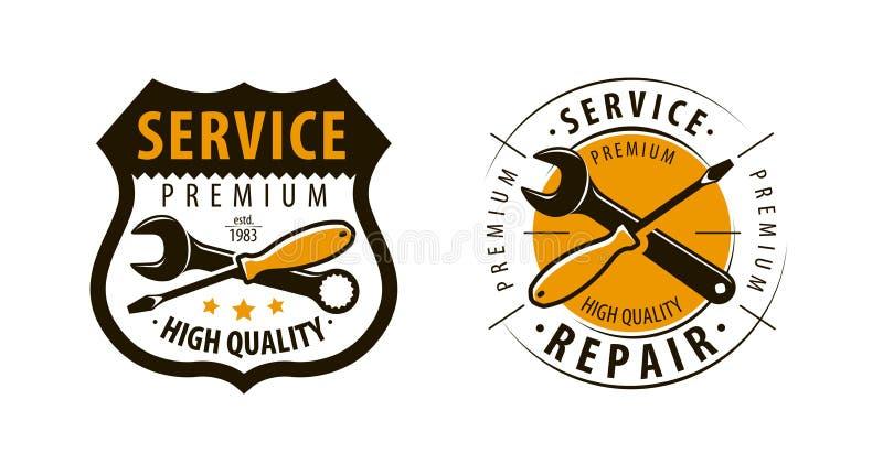 Service, Werkstattlogo oder Aufkleber Reparieren Sie Ikone Vektor vektor abbildung