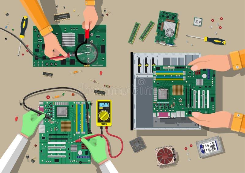 Service, Wiederaufnahme, Garantie, regelnd Zusammenbauender PC vektor abbildung