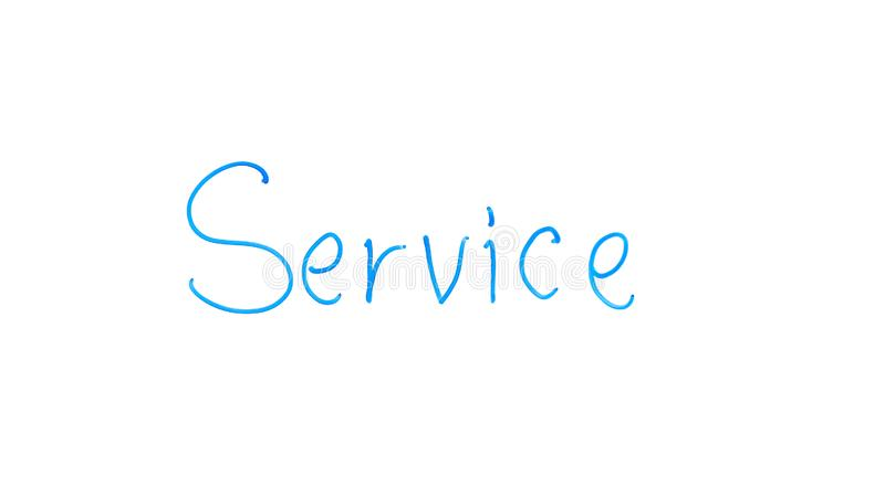Service word written on glass, outsourcing company, qualified help for customer. Stock photo stock photography