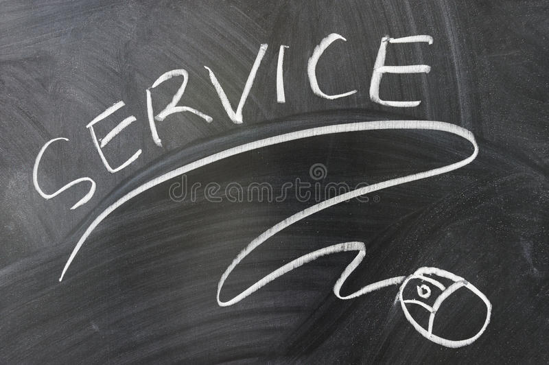 Service words and mouse symbol. Drawn on the blackboard royalty free stock photos