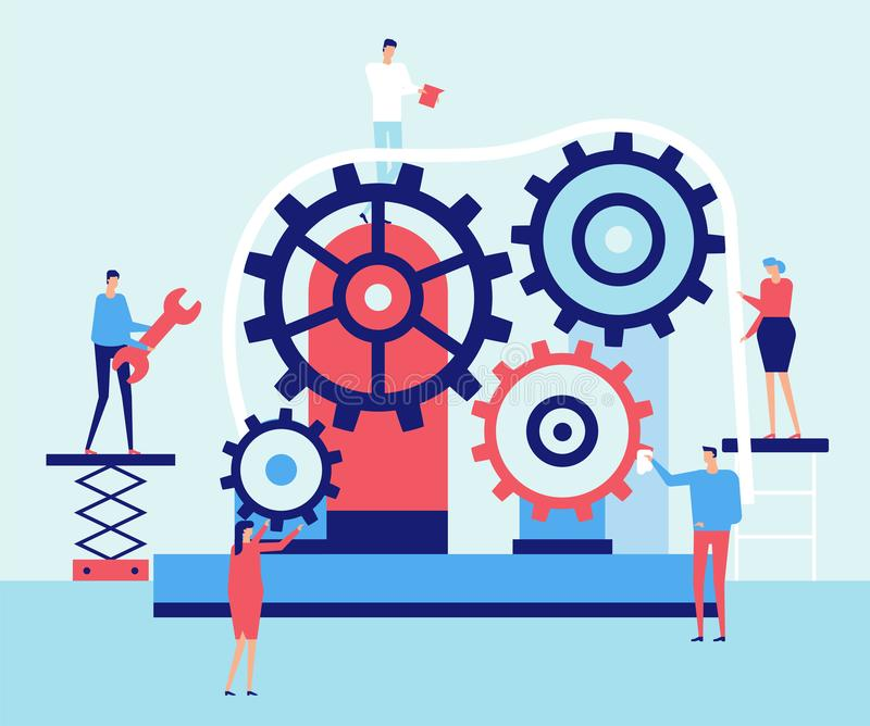 Service work - flat design style illustration. High quality composition in blue color with cute characters fixing gears, standing with instruments and tools vector illustration