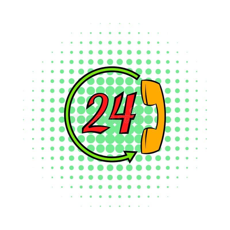 Serviceappellmitten 24 timmar symbol, komiker utformar stock illustrationer