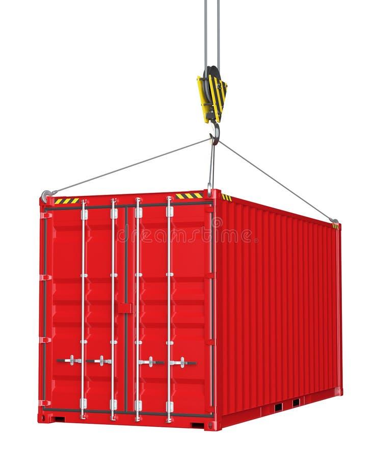 Serviceauslieferung - roter Frachtbehälter hochgezogen durch Haken lizenzfreie stockfotos