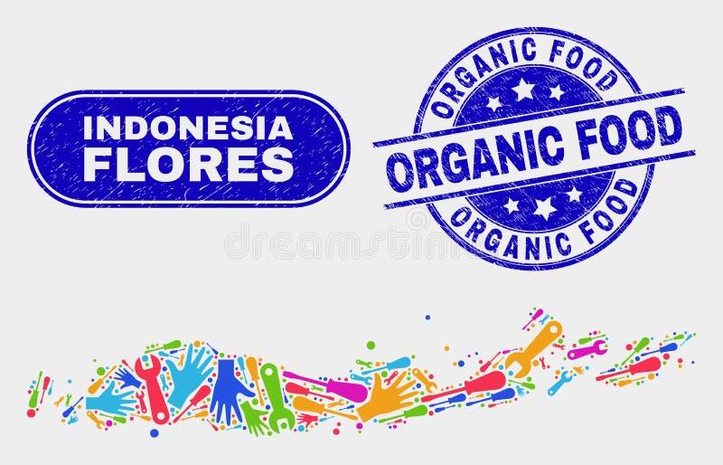 ServiceFlores öar av skyddsremsor för organisk mat för för Indonesien översikt och Grunge royaltyfri illustrationer