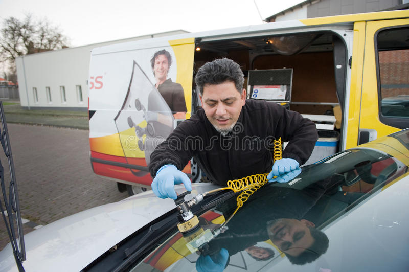 Serviceman from carglass stock images