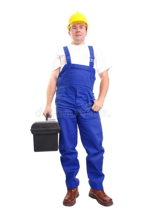 Serviceman with toolbox. Service man wearing blue helmet and overall holding black toolbox over white royalty free stock photography