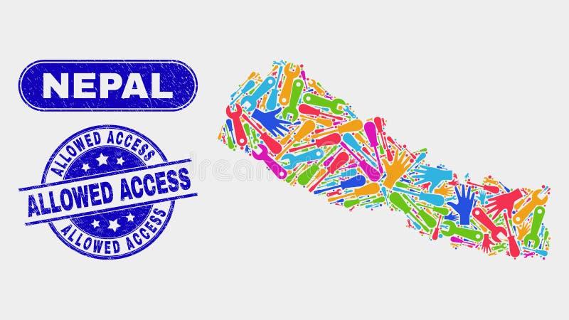 ServiceNepal översikt och skrapade låtna tillträdesvattenstämplar stock illustrationer